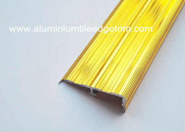 Cina Anti Slip Aluminium Stair Nosing For Concrete Stairs Gloss Anodized Deep Gold Color pemasok