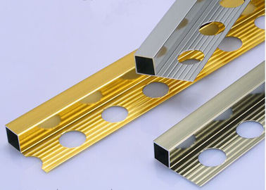 Bright Polished Aluminium Square Edge Metal Tile Trim Profil Mudah Dibersihkan
